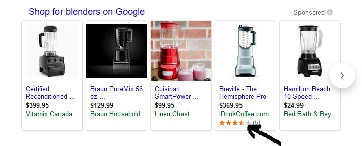 Results for some Google products come with Start Ratings