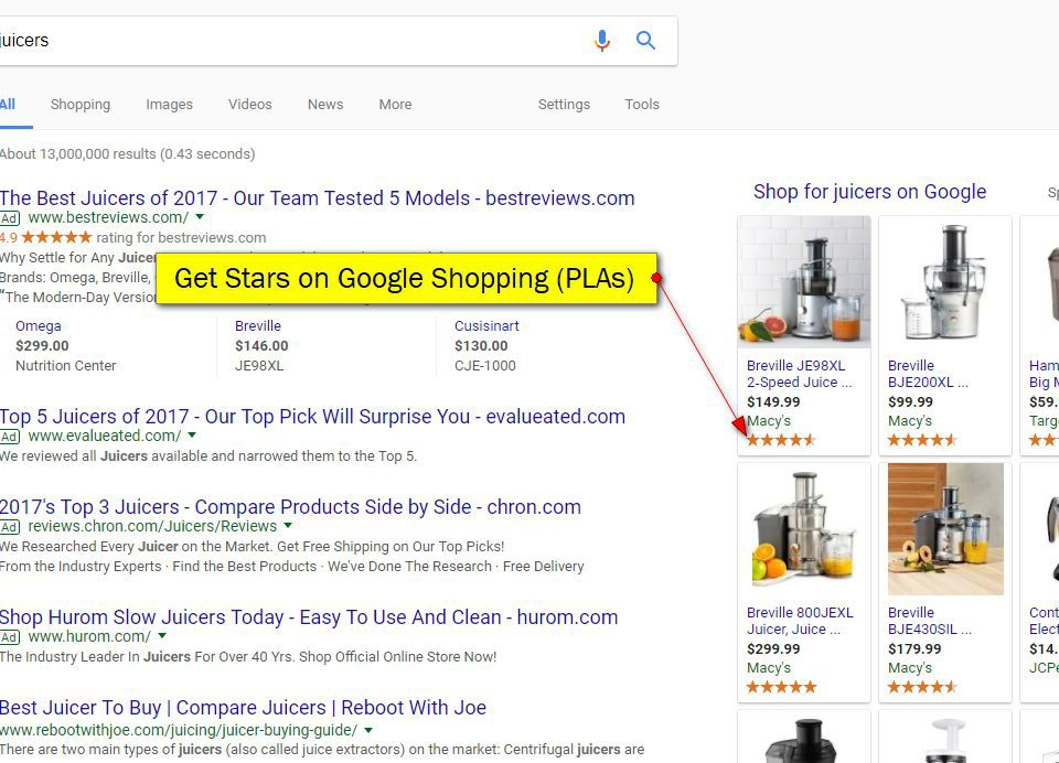 how to get google shopping stars