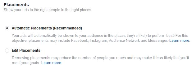 Choose Placements for your Facebook Ads