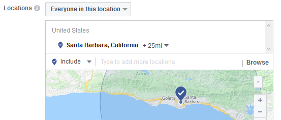 Precisely define the target location for your facebook ads