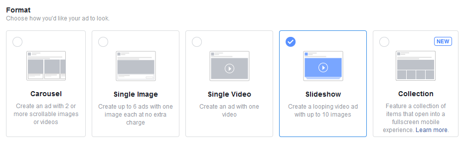 Accepted formats for Facebook Ads